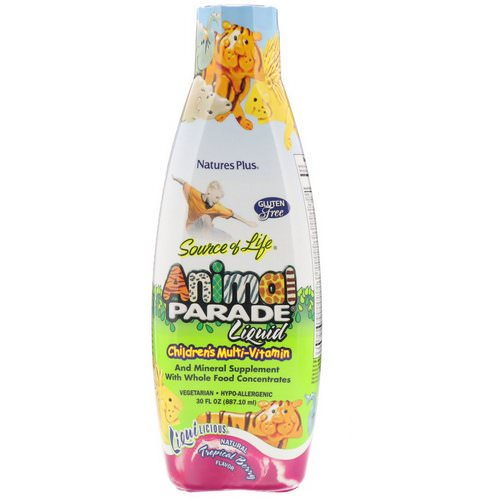 Nature's Plus, Source of Life, Animal Parade Liquid, Children's Multi-Vitamin, Natural Tropical Berry Flavor, 30 fl oz (887.10 ml) فوائد