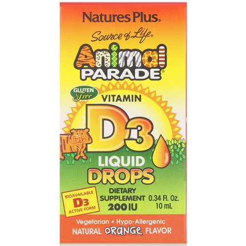 Nature's Plus, Source of Life, Animal Parade, Vitamin D3, Liquid Drops, Natural Orange Flavor, 200 IU, 0.34 fl oz (10 ml) فوائد