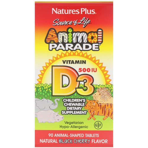 Nature's Plus, Source of Life, Animal Parade, Vitamin D3, Natural Black Cherry Flavor, 500 IU, 90 Animal-Shaped Tablets فوائد