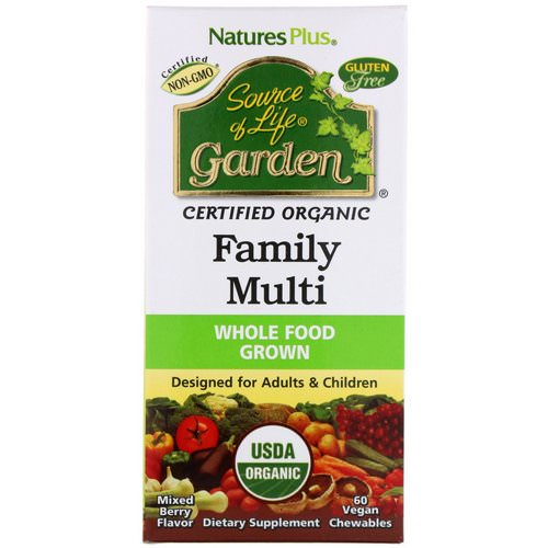 Nature's Plus, Source of Life, Garden, Organic Family Multi, Mixed Berry Flavor, 60 Vegan Chewables فوائد