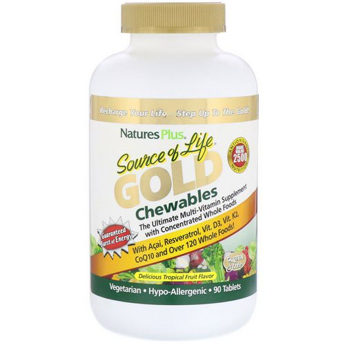 Nature's Plus, Source of Life, Gold Chewables, Delicious Tropical Fruit Flavor, 90 Tablets فوائد
