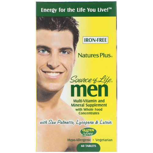 Nature's Plus, Source of Life Men, Multi-Vitamin and Mineral Supplement, Iron-Free, 60 Tablets فوائد