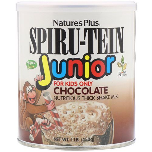 Nature's Plus, Spiru-Tein Junior, Nutritious Thick Shake Mix, Chocolate, 1 lb (450 g) فوائد