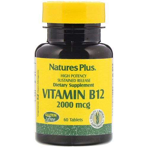 Nature's Plus, Vitamin B-12, 2000 mcg, 60 Tablets فوائد