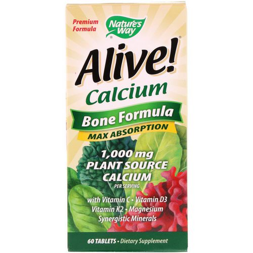Nature's Way, Alive! Calcium, Bone Formula, 1,000 mg, 60 Tablets فوائد