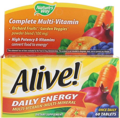 Nature's Way, Alive! Daily Energy, Multivitamin-Multimineral, 60 Tablets فوائد