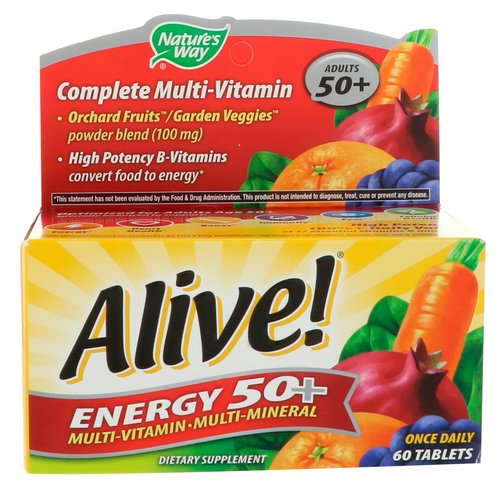 Nature's Way, Alive! Energy 50+, Multivitamin-Multimineral, For Adults 50+, 60 Tablets فوائد