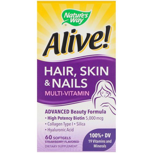 Nature's Way, Alive! Hair, Skin & Nails Multi-Vitamin, Strawberry Flavored, 60 Softgels فوائد