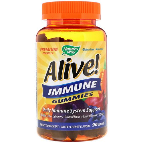 Nature's Way, Alive! Immune Gummies, Grape/Cherry Flavors, 90 Gummies فوائد
