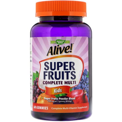 Nature's Way, Alive! Super Fruits Complete Multi, Kids, Pomegranate Cherry, 60 Gummies فوائد
