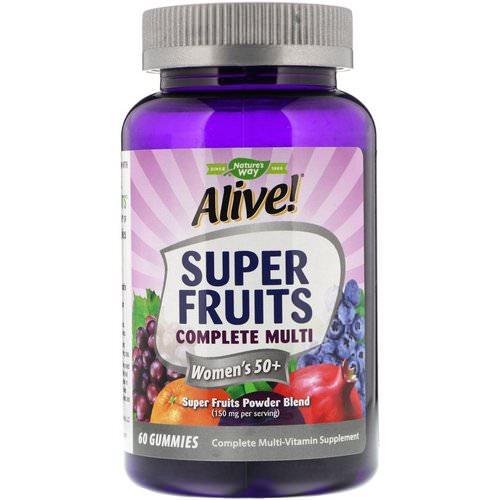Nature's Way, Alive! Super Fruits Complete Multi, Women's 50+, Pomegranate Berry, 60 Gummies فوائد