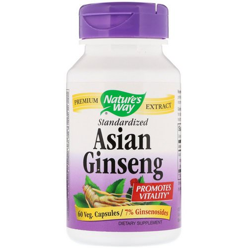 Nature's Way, Asian Ginseng, Standardized, 60 Veggie Caps فوائد
