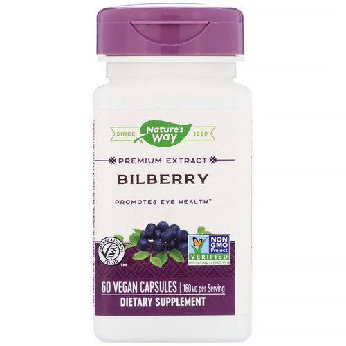 Nature's Way, Bilberry Extract, Eye Health, 60 Veggie Caps فوائد