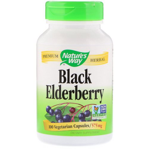 Nature's Way, Black Elderberry, 575 mg, 100 Vegetarian Capsules فوائد