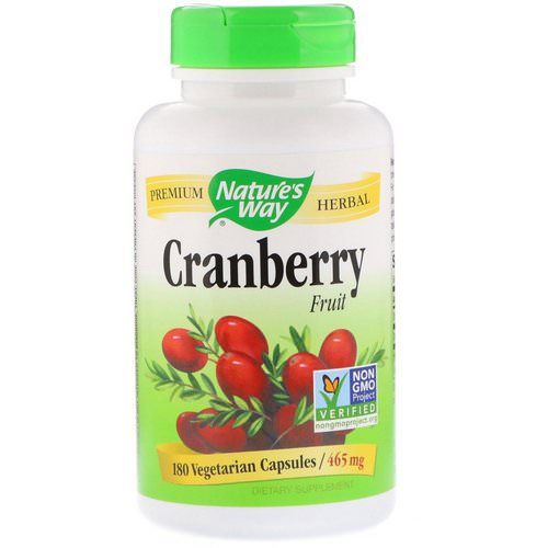 Nature's Way, Cranberry Fruit, 465 mg, 180 Vegetarian Capsules فوائد