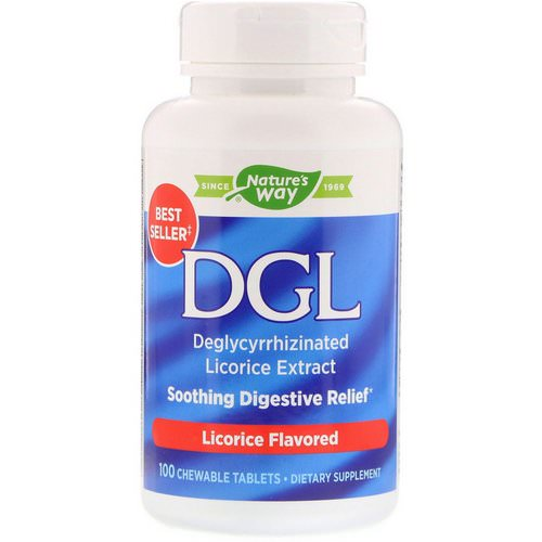 Nature's Way, DGL, Deglycyrrhizinated Licorice Extract, Licorice Flavored, 100 Chewable Tablets فوائد