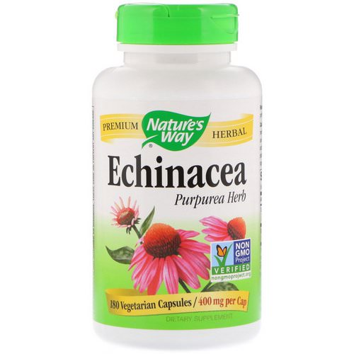 Nature's Way, Echinacea Purpurea Herb, 400 mg, 180 Vegetarian Capsules فوائد