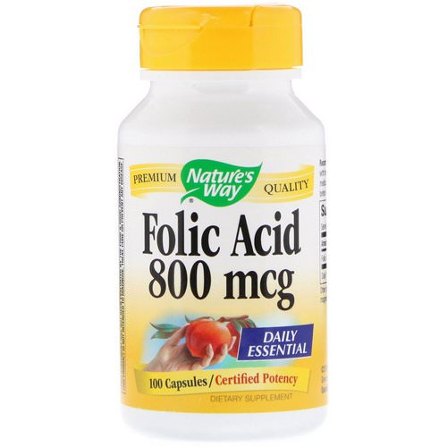 Nature's Way, Folic Acid, 800 mcg, 100 Capsules فوائد