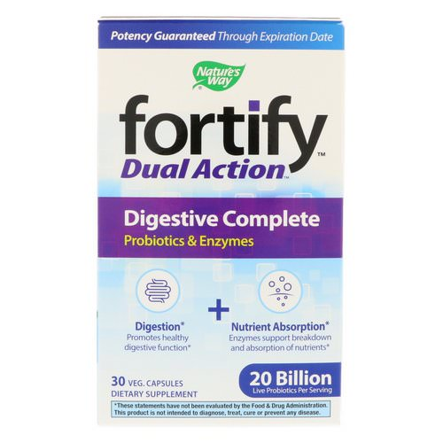 Nature's Way, Fortify, Dual Action Digestive Complete, 20 Billion, 30 Veg. Capsules فوائد
