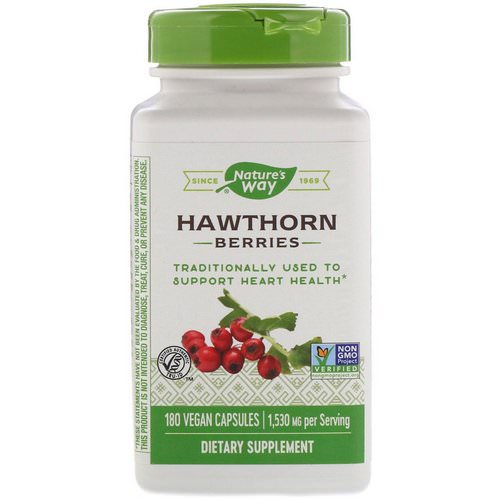 Nature's Way, Hawthorn Berries, 1,530 mg, 180 Vegan Capsules فوائد