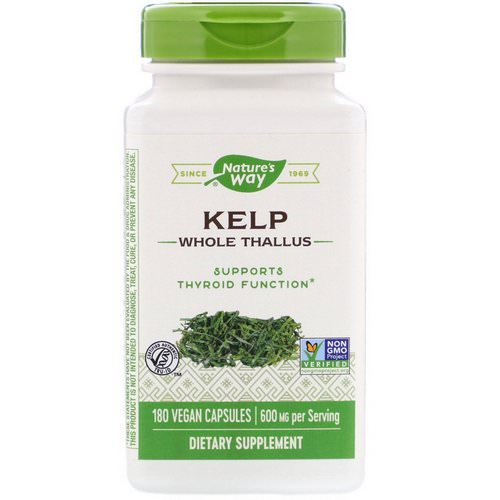 Nature's Way, Kelp, Whole Thallus, 600 mg, 180 Vegan Capsules فوائد