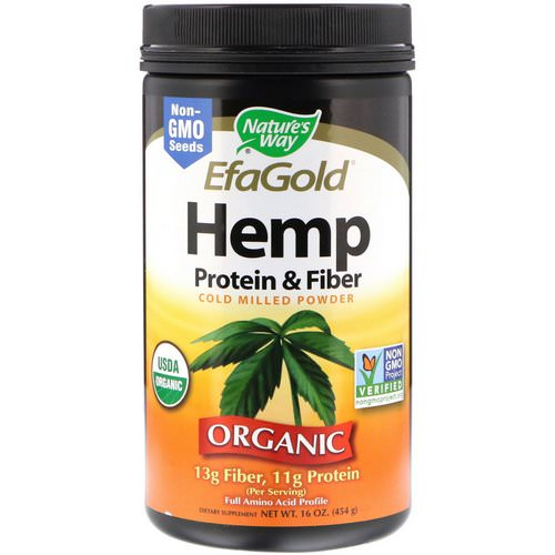 Nature's Way, Organic, EfaGold, Hemp Protein & Fiber, Cold Milled Powder, 16 oz (454 g) فوائد