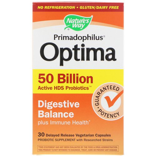 Nature's Way, Primadophilus Optima, Digestive Balance Plus Immune Health, 30 Delayed Release Vegetarian Capsules فوائد
