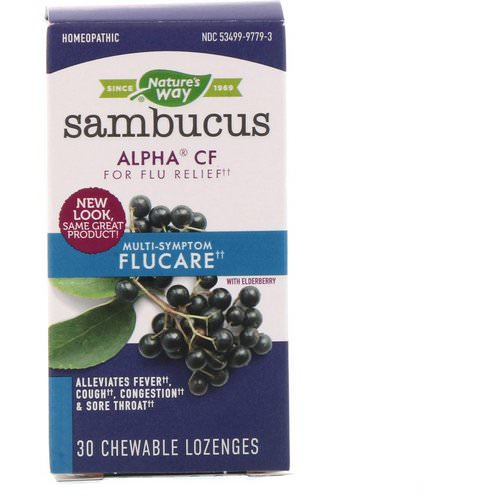 Nature's Way, Sambucus FluCare, Multi-Symptom Flu Relief, Elderberry, 30 Chewable Lozenges فوائد