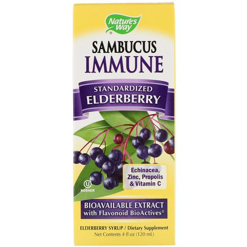 Nature's Way, Sambucus Immune, Elderberry, Standardized, 4 fl oz (120 ml) فوائد