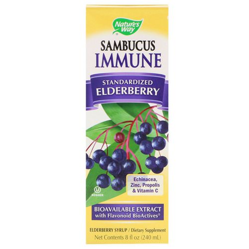 Nature's Way, Sambucus Immune, Elderberry, Standardized, 8 fl oz (240 ml) فوائد