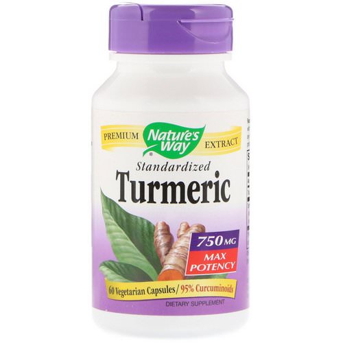 Nature's Way, Turmeric, Standardized, Max Potency, 750 mg, 60 Vegetarian Capsules فوائد