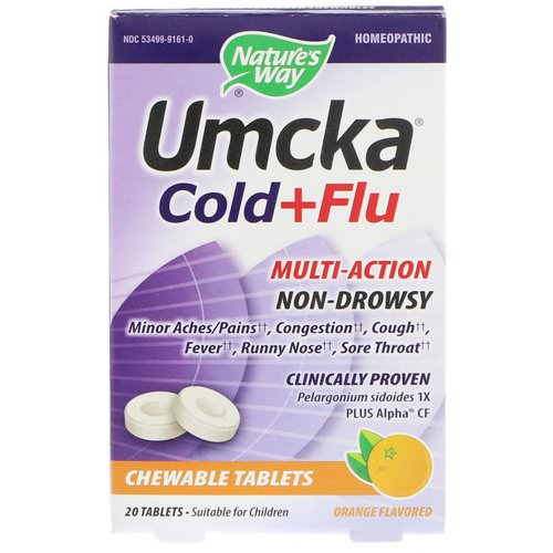 Nature's Way, Umcka, Cold+Flu, Orange, 20 Chewable Tablets فوائد