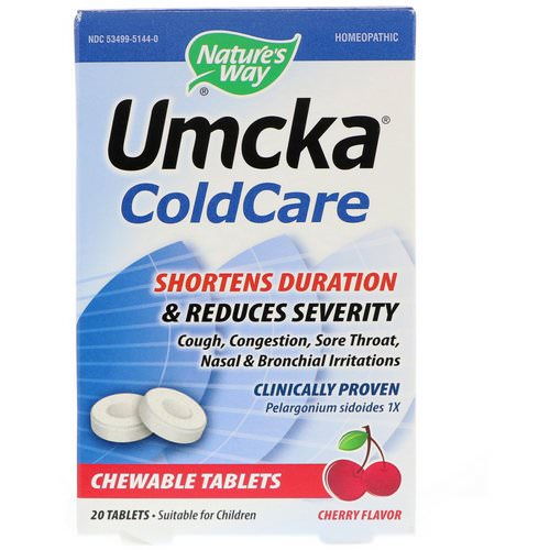 Nature's Way, Umcka, ColdCare, Cherry, 20 Tablets فوائد