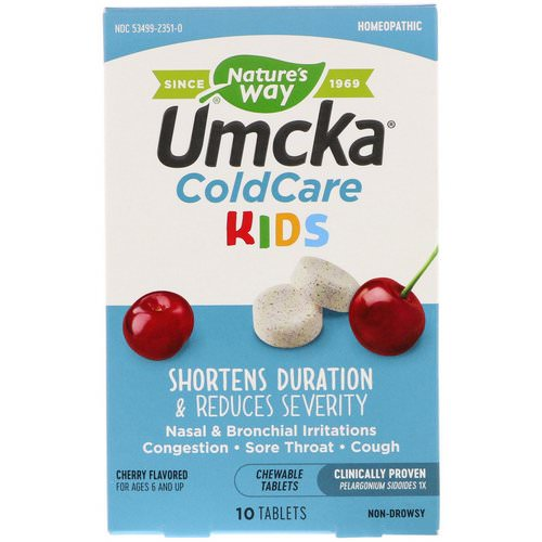 Nature's Way, Umcka, ColdCare Kids, Cherry Flavored, 10 Chewable Tablets فوائد