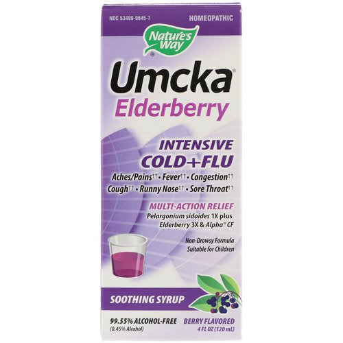 Nature's Way, Umcka Elderberry, Intensive Cold+Flu, Soothing Syrup, Berry Flavor, 4 fl oz (120 ml) فوائد