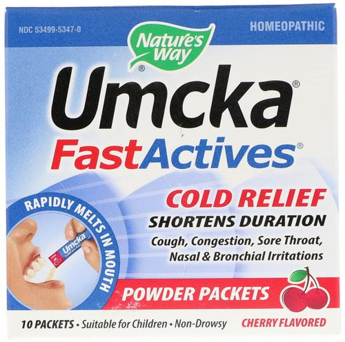Nature's Way, Umcka, Fast Actives, Cold Relief, Cherry Flavor, 10 Powder Packets فوائد