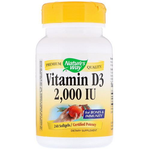 Nature's Way, Vitamin D3, 2,000 IU, 240 Softgels فوائد