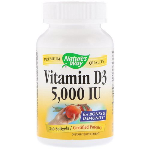 Nature's Way, Vitamin D3, 5000 IU, 240 Softgels فوائد