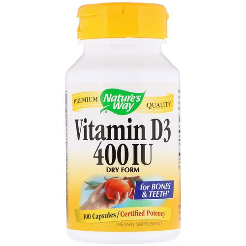 Nature's Way, Vitamin D3, Dry Form, 400 IU, 100 Capsules فوائد