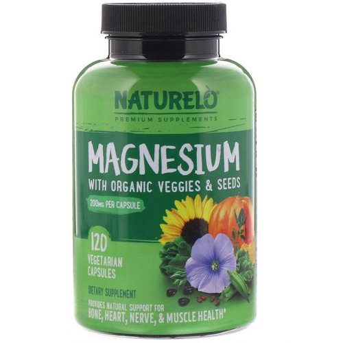 NATURELO, Magnesium with Organic Veggies & Seeds, 200 mg, 120 Vegetarian Capsules فوائد