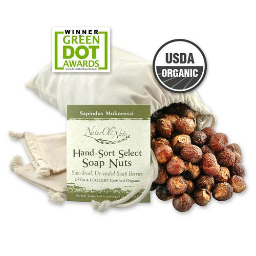 NaturOli, Organic, Hand-Sort Select Soap Nuts With 2 Muslin Drawstring Bags, 32 oz فوائد