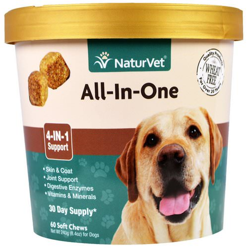 NaturVet, All-In-One, 4-In-1 Support, 60 Soft Chews, 8.4 oz. (240 g) فوائد
