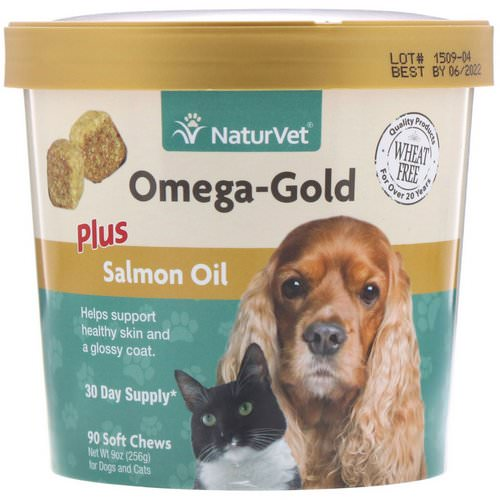 NaturVet, Omega-Gold, Plus Salmon Oil, For Dogs & Cats, 90 Soft Chews فوائد