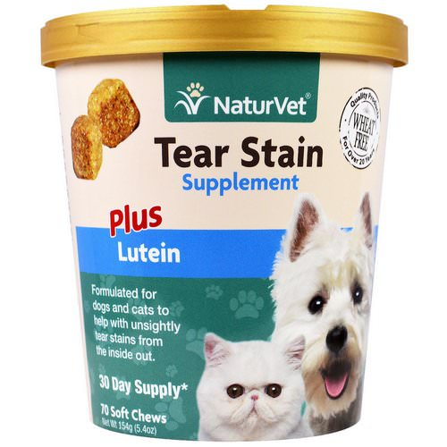 NaturVet, Tear Stain for Dogs & Cats, Plus Lutein, 70 Soft Chews, 5.4 oz (154 g) فوائد