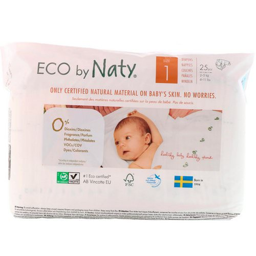 Naty, Diapers for Sensitive Skin, Size 1, 4-11 lbs (2-5 kg), 25 Diapers فوائد