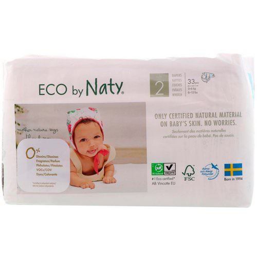 Naty, Diapers for Sensitive Skin, Size 2, 6-13 lbs (3-6 kg), 33 Diapers فوائد