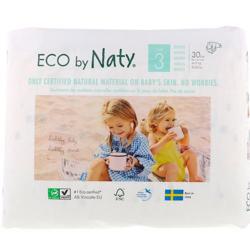 Naty, Diapers for Sensitive Skin, Size 3, 9-20 lbs (4-9 kg), 30 Diapers فوائد