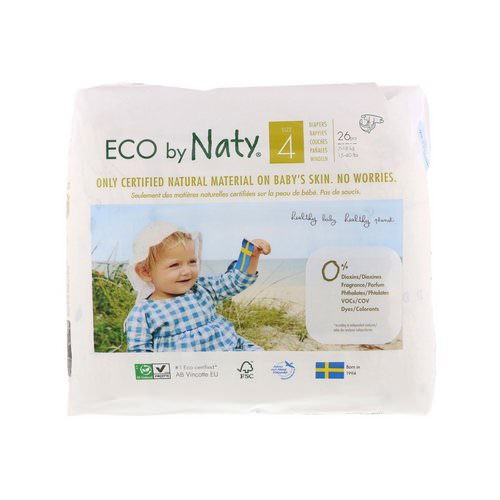 Naty, Diapers for Sensitive Skin, Size 4, 15-40 lbs (7-18 kg), 26 Diapers فوائد