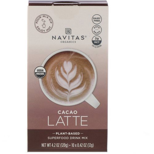 Navitas Organics, Latte Superfood Drink Mix, Cacao, 10 Packets, 0.31 oz (9 g) Each فوائد
