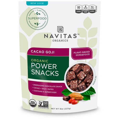 Navitas Organics, Organic Power Snacks, Cacao Goji, 8 oz (227 g) فوائد